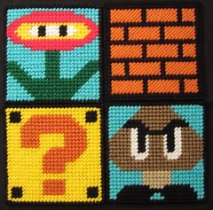MarioBros Coasters (Crafty Guy) Tags: flower brick mystery mushrooms fire diy pattern power crafts nintendo super mario canvas plastic question prize block nes bros coaster powerup luigi goomba fireballs artscrafts plasticcanvas drinkcoaster beveragecoaster