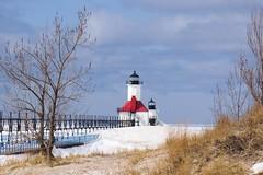 St. Joe Lighthouse (Kathy~) Tags: lighthouse winter michigan stjoseph snow cold lakemichigan red scape favescontestwinner herowinner friendlychallenges 15challengeswinner instagram