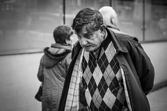 The Burden (Leanne Boulton) Tags: monochrome portrait people urban street candid portraiture streetphotography candidstreetphotography candidportrait streetlife elderly man male face old facial expression look emotion feeling mood atmosphere burden worry weight tone texture pattern detail depthoffield bokeh naturallight outdoor light shade shadow city scene human life living humanity society culture canon canon5d 5dmarkiii 70mm character ef2470mmf28liiusm black white blackwhite bw mono blackandwhite glasgow scotland uk
