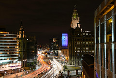 Up on the roof (Jonathan_Marsh) Tags: liverpool liverpoolcitycentre liverpoolatnight nikond7200 nikon longexposure city cityscape lights trails exposure