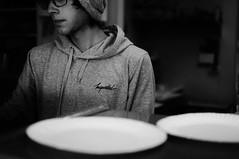 Untitled (ajkpix) Tags: pizza store portrait urban bw blackandwhite losangeles california plates restaurant clerk monochrome
