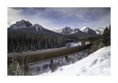 Sometimes The Light At The End Of The Tunnel ... Is Just A Train ... (Maxwell Campbell) Tags: canada alberta banff train snow winter mountains morants curve landscape