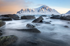 Rock at dawn on the front line (OR_U) Tags: 2017 oru norway lofoten ramberg acdc winter le longexposure rocks mountain sunrise morning movement motion water sea seascape landscape island dawn