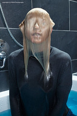 Jennies fully clothed bath (Wet and Messy Photography) Tags: wetlook wet wethair wetclothes wetjeans wetandmessy water shower bathtub blonde ponytail blue eyes cardigan turtleneck soaked