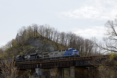 NS 4001 & 1036 Haulling Hoppers on the Port Road Branch crossing a bridge before going into Enola.  This was hours before they derailed (jeremygladfelter) Tags: outdoor train engine norfolk southern heritage pa new cumberland port road branch 1036 4001 ns