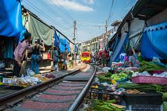 Maeklong Railway Market   Bangkok (leemumford) Tags: travel train tourism street photography thailand bangkok railway market asia local tracks colourful nikon railroad