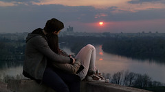 Sunset (Dragan*) Tags: sunset sunlight clouds city urban danube thedanuberiver river water reflection couple love romantic outdoor moment