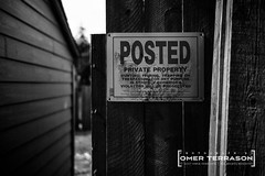 """POSTED"" (oterrason) Tags: sign signage seattle washington street acros monochrome bw film simulation profile effect contrasty lowkey alley house garage posted warning caution"