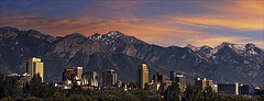Salt Lake City Skyline (Utah Images - Douglas Pulsipher) Tags: salt lake city saltlakecity utah skyline cities evening twilight night wasatch mountains mts front downtown urban center metropolitan buildings architecture mormons mormon temple tabernacle square autumn fall morning predawn dawn capitol town towns destination cityscape tourism travel rockies range infrastructure roads streets traffic residential suburbs neighborhoods growth expansion expanding realestate property panorama panoramic horizontal