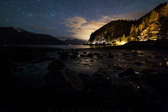 Night Walk (Bun Lee) Tags: landscape astrophotography bunlee bunleephotography canada clouds longexposure mountains nature nightskies nightscape nightscapes porteaucove porteaucoveprovincialpark stars trees water