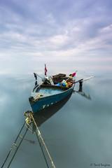 Delta Dreams XIX. (dasanes77) Tags: canoneos6d canonef1635mmf4lisusm tripod landscape seascape cloudscape waterscape sea boat calm longexposure tarragona deltadreams