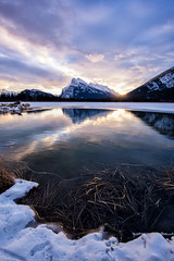 Reflecting on Another Year Gone (Kristin Repsher) Tags: alberta banff banffnationalpark canada canadianrockies d750 frozen mountains nationalpark nikon reflections rockies rockymountains snow sunrise vermillionlakes winter