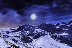 Montagnes bercées par la Lune (thanh_geneva) Tags: zermatt gornergrat sky stars alpes montagnes mountains valais wallis switzerland moon lune landscape étoiles glacier night nuit astrophoto