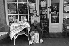 "Tea For One (jonwaz) Tags: seaside brighton sussex england europe outdoor black blanco y negro bw monochrome blackandwhite street cinematic jonwaz ""sony dscrx100m3"" candid people tea signage"