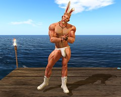 Easter_267b  copy (* Drey Messmer *) Tags: bunny easter blonde blond big guy man male muscle hunk sexy hairy beard sneakers jock jockstrap ears 2017 april