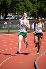 Kent passing another one in the DMR (Malcolm Slaney) Tags: 2017 dmr distancemedleyrelay stanfordinvitational track trackandfield