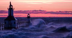 StJoe Lighthouse Tonight (Pleuston) Tags: saintjoseph michigan unitedstates wind waves storm gale lakemichigan lighthouse sunset flood