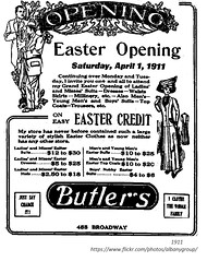 Butler's clothing easter ad  1911  albany ny (albany group archive) Tags: 455 broadway old historic vintage historical history photos photographs albany