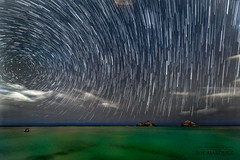 Star Trails over Mokulua Islands in Lanikai, Hawaii (The Smoking Camera) Tags: hawaii oahu lanikai mokulua mokuluas island kailua windward beach ocean star trails startrails astrophography nikon d810a 1424mm longexposure night sky