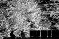 And the sea... (John fae Fife) Tags: fujifilmx noiretblanc xe2 monochrome ferry candidshot blackandwhite candid nb northshieldsandferry bw