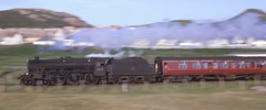 Mold Junction allocated Stanier Black 5 44971 heads a Llandudno to Manchester Exchange express towards Deganwy, August 1963. (stcaamekid) Tags: black5 stanier 44971 manchesterexchange 460 llandudno northwales northwalessteam 1963 6b moldjunction 1969