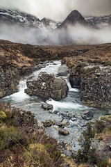 Fairy Pools (Dave Fieldhouse Photography) Tags: poorlight grey dull overcast fairypools skye isleofskye island highlands scotland glenbrittle cullins blackcullin river waterfalls march2017 fujifilm fuji fujixt2 portrait weather rain mist atmosphere drama rocks mountains mountain snow