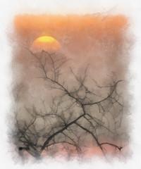 sunset (alanpeacock2) Tags: painting orange sun yellow art sunset