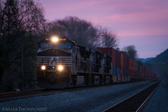 Under The Cover Of Darkness... (marko138) Tags: c449w dash9 ge norfolksouthern pitl pennsylvania pittsburghline bluehour blur cove intermodal locomotive mainline middledivision perrycounty railfan railroad railroadphotography slowshutter spring sunrise train zoompan