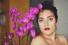 - (Giorgi Roberta) Tags: girl me myself self selfportrait colours colori orchids orchid orchidea violet purple viola naked face makeup trucco clean indoor allinterno casa house soft calm spring nature natura flowers flower fiori