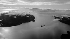 Lonely Frieghter-monochrome (david byng) Tags: helijet vancouver 2017 sunrise vancouverisland pacificocean canada britishcolumbia gulfislands travel victoria penderisland ca helicopter