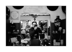 Selfie at Vasco's (Istvan Penzes) Tags: penzes leicam7 m7 black white film kodaktrix400 imaconflextight343 self vasco leicasummilux50mmasph bw availablelight