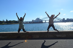 Jumping shot in front of the Opera House and Sydney Harbour Bridge (kreiZee) Tags: park bridge flowers blue autumn food house flower bird heritage fall nature grass yellow garden jumping opera university purple heart harbour sydney royal victoria botanic quadrangle wolonora