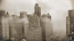 Fog coming up West Street, Monday morning. (Jay Fine) Tags: nyc weather fog sepia cityscape manhattan batteryparkcity weststreet fidi
