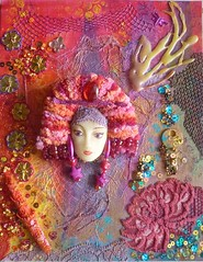 Canvas (Karen Cattoire) Tags: original face beads colorful lace mixedmedia canvas acrylics coldporcelain karencattoire