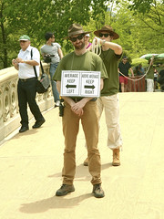 """Survey """"would you fall for that"""" Program expected to air on ABC This Summer (Do you follow orders???) (nrhodesphotos(the_eye_of_the_moment)) Tags: bridge signs man fun outdoors comedy boots centralpark manhattan candid hats rope tourist program actor gag spoof survey pilot farce abcnews televisionprogram nrhodesphotosyahoocom wwwflickrcomphotostheeyeofthemoment dsc8957nhr wouldyoufallforthat"""