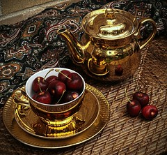 Still life with cherries (Natasha__M) Tags: life red cup gold still cherries tea olympus pot e3 hdr smctakumar50mm14