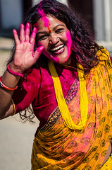 Holi festival, Kathmandu, Nepal (Andrew Taylor Photography) Tags: nepal portrait people woman colour festival celebration kathmandu subject colourful festivity holi durbarsquare happyholi basantapurdurbarsquare colouredpowder playholi