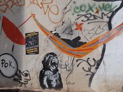 Hamac et élections (Jeanne Menjoulet) Tags: ménilmontant streetart graffiti nemo parapluie placemauricechevalier paris hamac singe élections