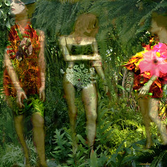.what to wear in the Garden of Eden. (xandram) Tags: flowers plants photoshop garden mannequins manipulation textures collaboration