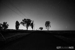 dubbo (iplaybase) Tags: road longexposure trees blackandwhite bw moon night rural stars star twilight farm country midnight fields newsouthwales dubbo monochome startrail scottgallagher