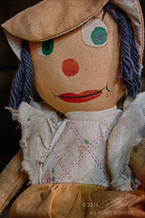 Creepy Doll (Linda O'Donnell) Tags: old dusty museum dress antique rusty dirty creepy greeneyes aged ragdoll grungy burlap oldtime lambertvillenj floppyhat holcombejimisonmuseum