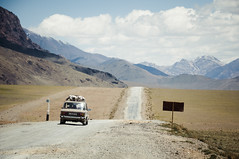 A Lada in the Pamirs (Brave Lemming) Tags: road old travel mountains nature car landscape scenery asia adventure soviet silkroad tajikistan himalaya centralasia lada himalayas biketour pamir worldtravel pamirs m41 tadjikistan pamirhighway pamirplateau  4000metres bravelemming
