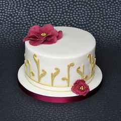 Ivory and Gold Cake (pamdoherty1) Tags: abstract flower gold burgundy ivory birthdaycake fantasyflower rubyanniversary abstractcake rubyweddingcake rubyanniversarycake