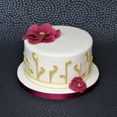 Ivory and Gold Cake (pamdoherty1) Tags: abstract flower gold burgundy ivory birthdaycake fantasyflower rubyanniversary abstractcake rubyweddingcake rubyanniversarycake