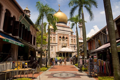 Sultan Mosque (Kokkai Ng) Tags: street old travel blue sky people tree history tourism shop horizontal retail shopping gold restaurant singapore asia southeastasia day south islam religion large entrance culture mosque tourist illuminated east palmtree dome sultan ornate malay bugis traditionalculture sultansmosque placeofworship buildingentrance kampongglam traveldestinations architecturalfeature buildingexterior masjidsultan placeofinterest shoppingstrip builtstructure arabstreetquarter