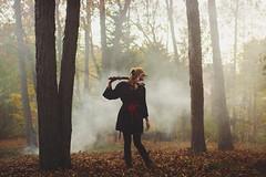 but don't play with me cos you're playing with fire (kawaiikimmy) Tags: red selfportrait black fall halloween girl fog costume mask ninja smoke fox sword kimono kitsune