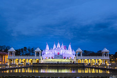 BAPS Temple by night (GarrettAndersonPhotography) Tags: trees sky reflection castle night clouds canon georgia lights long exposure purple indian tripod religion symmetry symmetrical marble hindu hinduism baps lilburn 18135mm garrettandersonphotography