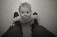 Dolphin (Philocycler) Tags: portrait blackandwhite beautiful smile happy eyes toddler dolphin fatherandson childphotography