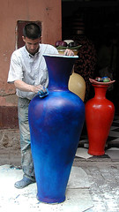 A craftsman at work in the bazar of Marrakesh - Morocco (Herv Platteaux) Tags: portrait man crafts morocco maroc marrakesh craftsman bazar homme 2010 artisanat potery