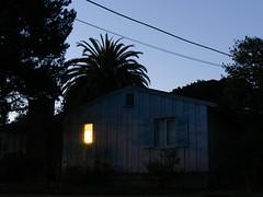 There is a light. Central Avenue. Pacific Grove, CA. (m. wriston) Tags: california longexposure house color digital dawn unitedstates pacificgrove voigtlandernokton25mmf095 vscofilm olympusomdem5 mwriston